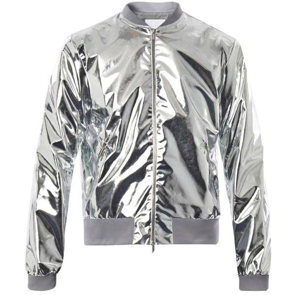 RICHARD NICOLL Metallic lightweight bomber jacket (380 CAD) ❤ liked on Polyvore featuring men's fashion, men's clothing, men's outerwear, men's jackets, coats, silver, mens grey jacket, mens lightweight jacket, mens light weight jackets and mens metallic jacket
