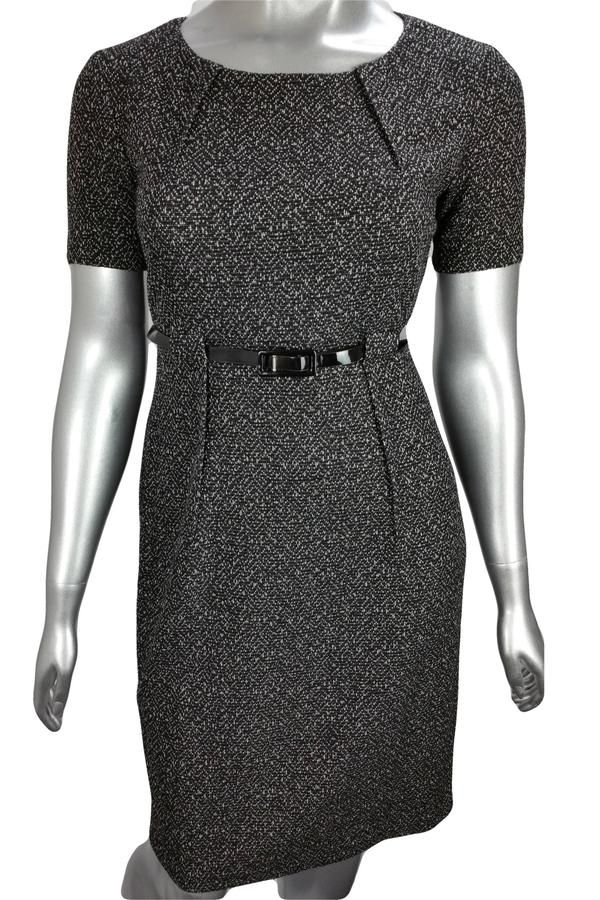 Black and white belted tweed short sleeve dress