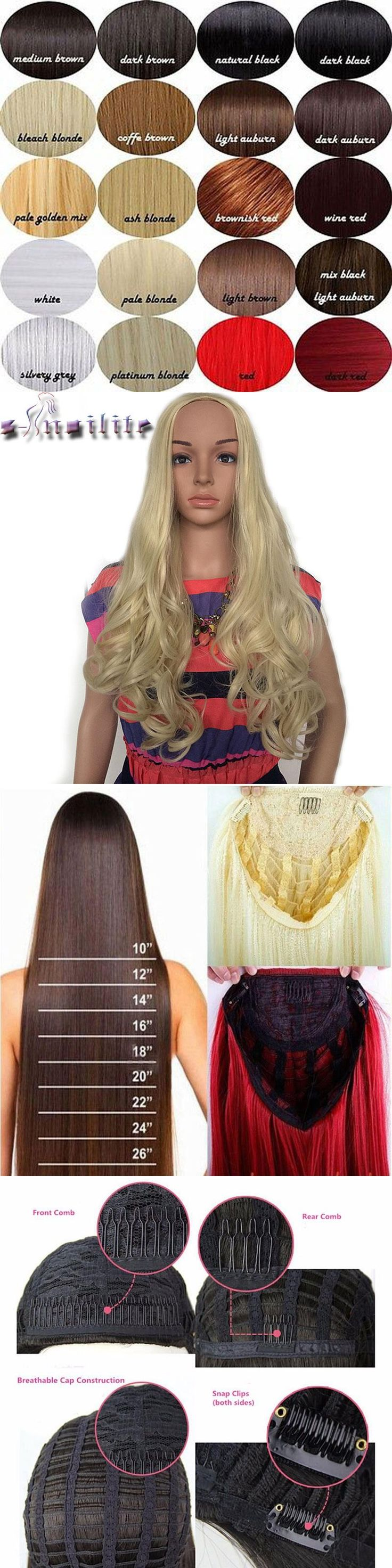 S-noilite 63.5cm Long Curly Women Half Wig Synthetic Hair Vogue Ladies 3/4 Full Wigs Soft for human