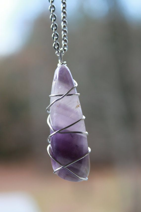 Chevron Amethyst Stainless Steel Wire Wrapped Healing Stone Pendant. Chakra Stone Necklace. Reiki Healing Stone Jewelry. Natural Crystals. on Etsy, $21.95