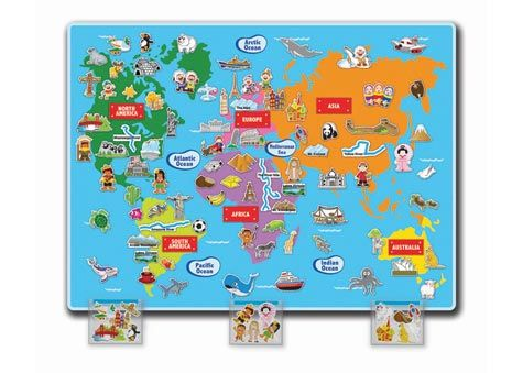 Explore the world with this HUGE World Felt Map. Measuring 89 x 120cm, it features all the continents and their famous landmarks. Includes over 100 pieces.