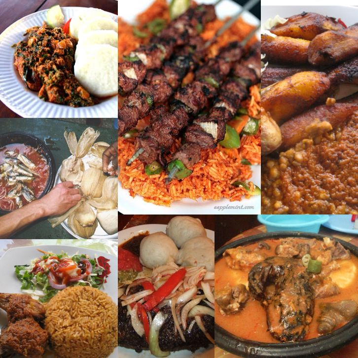 """Ghana dishes - Fufu, Banku with peper & fish (sardines), Jollof with chicken or kebabs, Koko and Beans, and Yam """"Ampesie"""""""