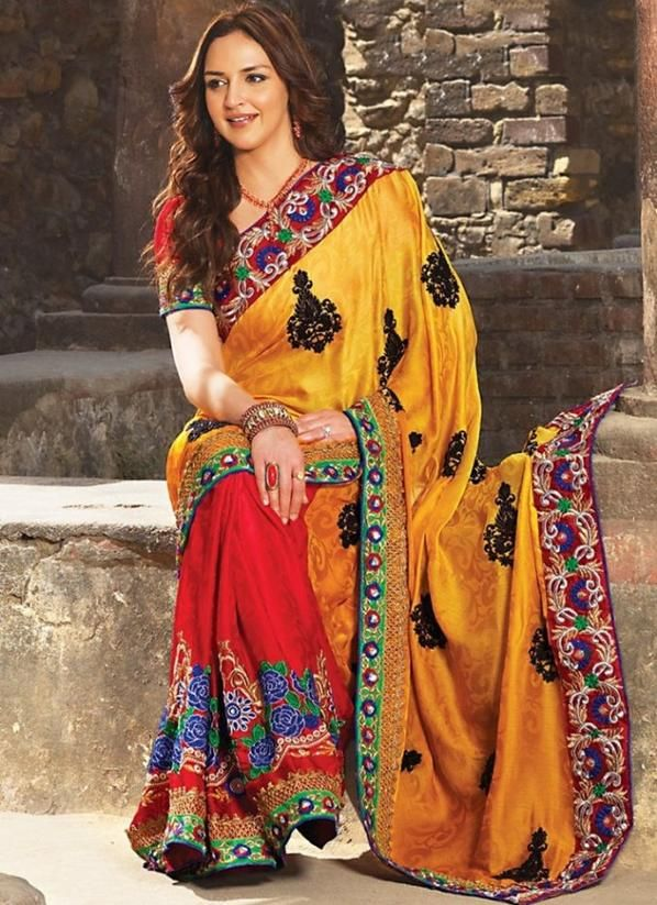Latest Bollywood Styled Yellow & Red Colored #Bollywood #Saree