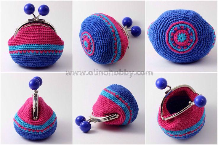Вязаные кошельки на застежке с шариками