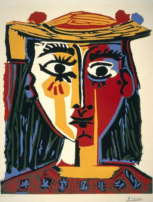 Pablo Picasso (1881-1973), 1962, Buste de femme au chapeau, colored linocut.