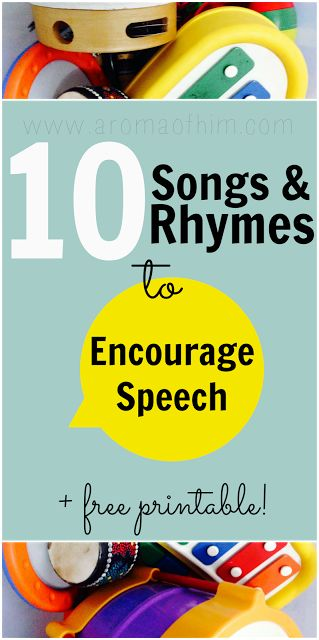 Encouraging Speech with Songs, Rhymes & Puppets and free printable #homeschool #speech Repinned by SOS Inc. Resources pinterest.com/sostherapy/.
