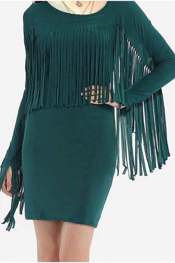 Round Collar Tassel Pure Color Bodycon Dress