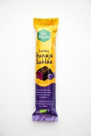 Voi hyvin -mustikkahunajasuklaa on ihana yhdistelmä aitoa mustikkaa, herkullista hunajaa ja täyteläistä tummaa suklaata.