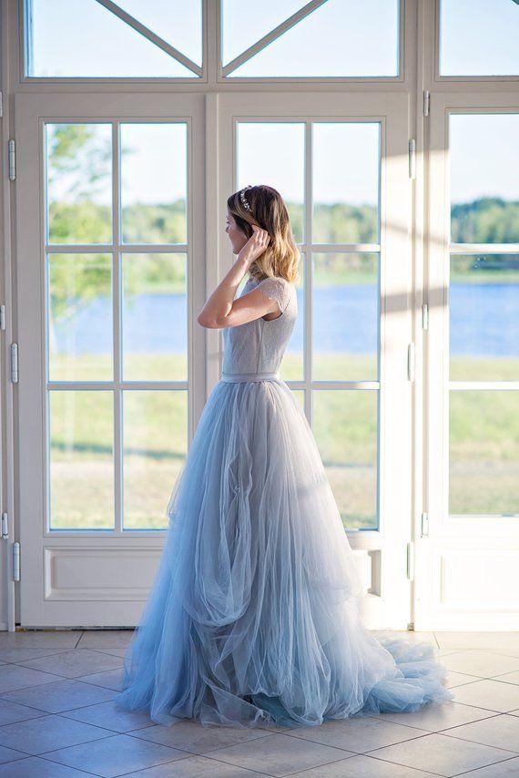 77c32f61b6e06 Dusty blue ombre wedding dress, colorful wedding dress, tulle bridal ...