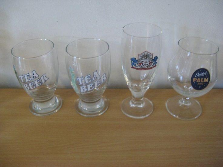 Four original glasses: 2 x Teabeer 1 x Palm; 1x Amstel...