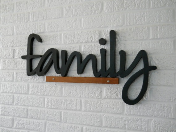 All wood family letters eight inch tall letters black for Black wall letters