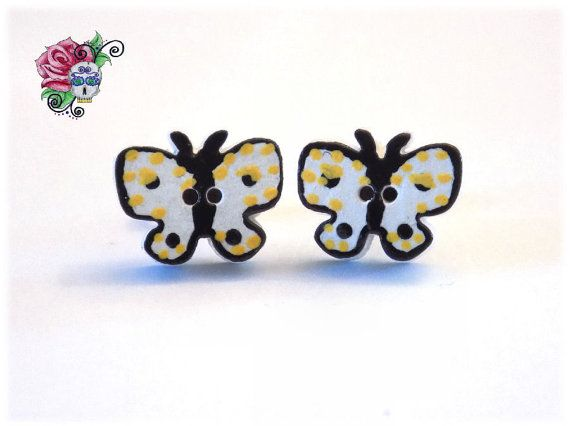 Boucles d'oreilles Petit Papillon Bois par ValniDesignsJewelry