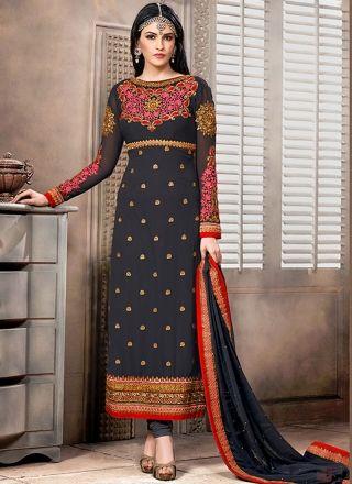 Dark Gery Georgette Party Wear Long Churidar Suit http://www.angelnx.com/Salwar-Kameez