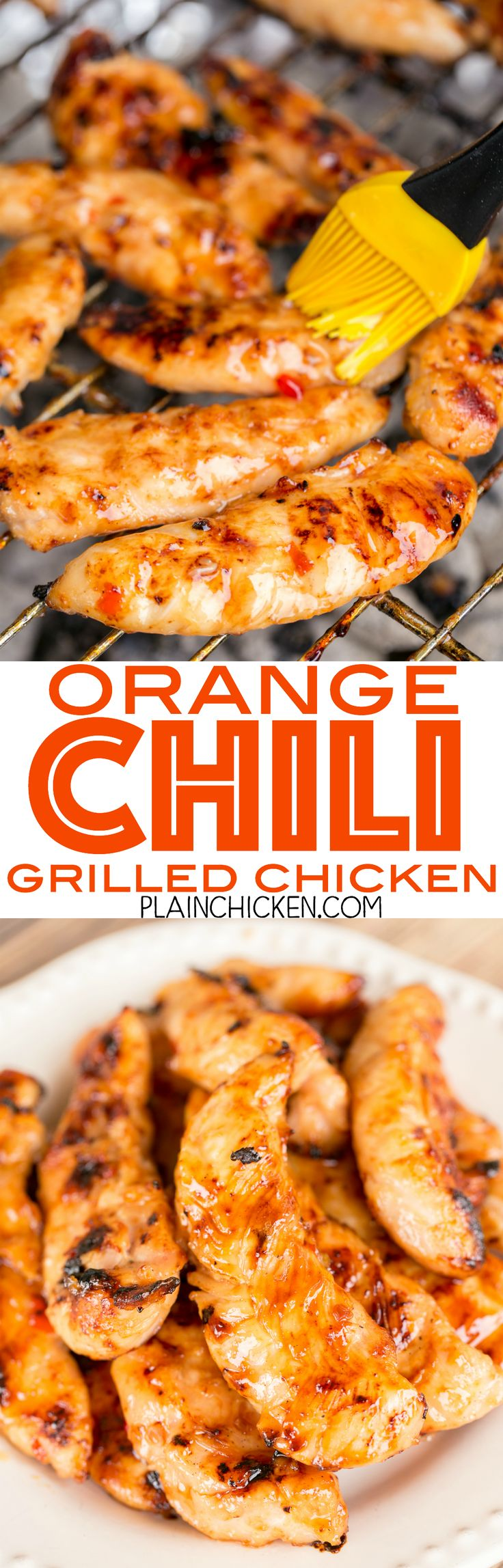 Orange Chili Grilled Chicken - seriously delicious! Only 4 ingredients! Chicken, sweet chili sauce, honey and orange juice. Grill and baste with reserved sauce. SO much great flavor!!! We always double the recipe for leftovers - great on a salad or in a w