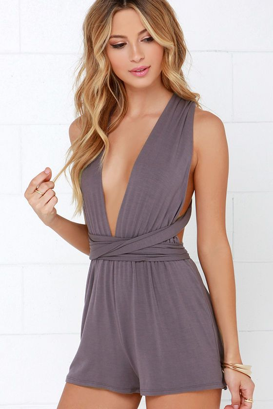 Any Way You Want Me Dusty Purple Romper Backless