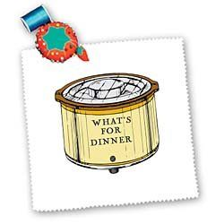Crock Pot With Whats For Dinner Written On It - 10x10 Inch Quilt Square Square dimension: 10 L x 10 W, image dimension: 7 1/2 L x 7 1/2 W. 100% cotton; image is soft to touch. Edges have pinking shear cut. Image will not fade with washing.. Image not a transfer, part of material.  #3dRose #Art_and_Craft_Supply