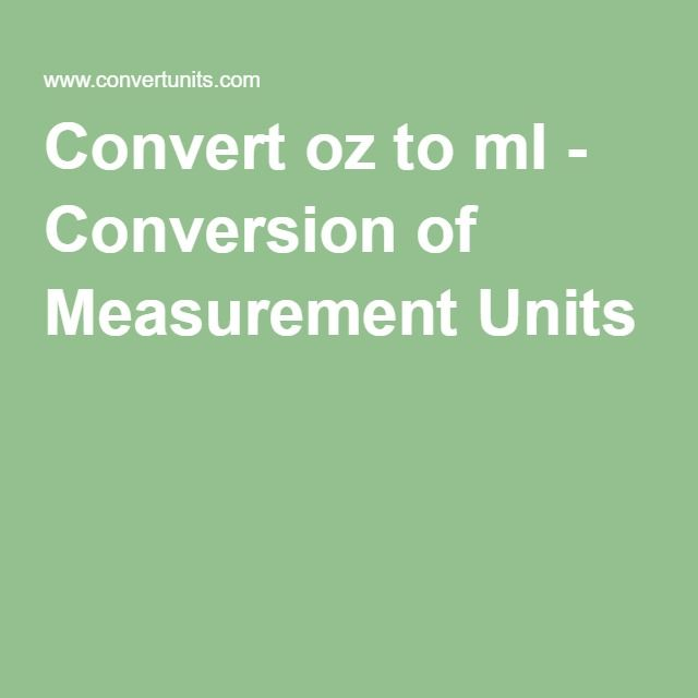 Convert oz to ml - Conversion of Measurement Units