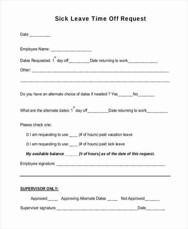 Sick Leave Form Template Inspirational Sick Leave Form Bing Images In 2020 Time Off Request Form Return To Work Sick Leave