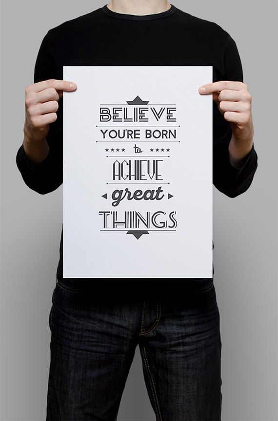 #Print #Digital #Download #Printable #Home #Decor #Poster #Typography #Inspirational #Quote #Art #Erhico #Design #believe