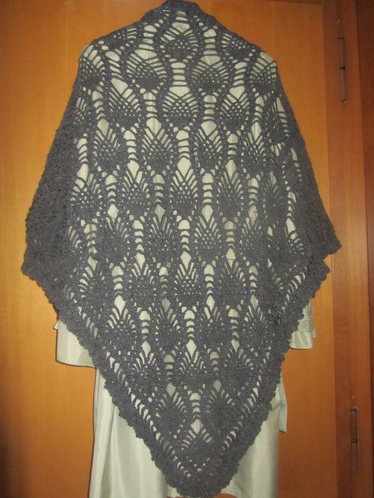 Scialle in lana alpaca a punto ananas