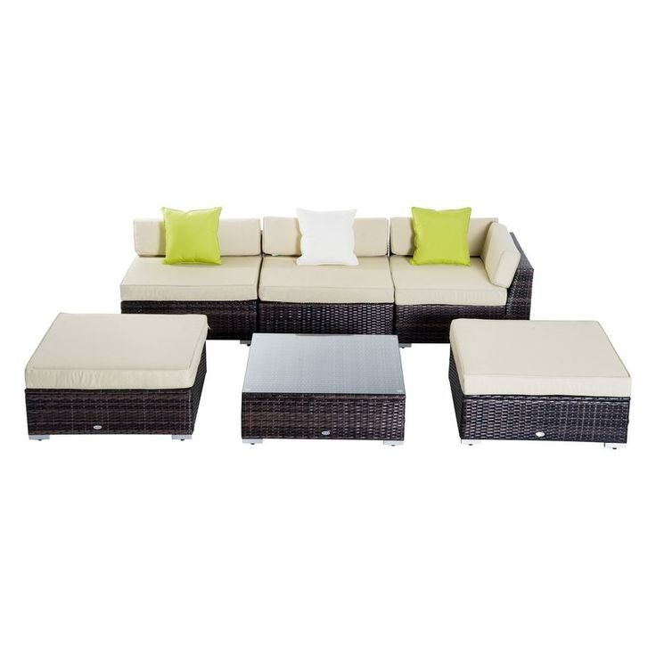 Garden Rattan Furniture Set 6 Piece Patio Corner Sofa Table Stools Pool Lounger