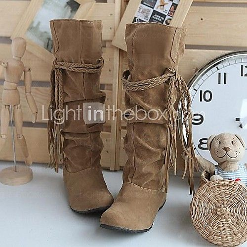 Women's Fall / Winter Slouch Suede Casual Wedge Heel Ruffles / Lace-up Black / Brown / Pink / Beige 2016 - $17.99