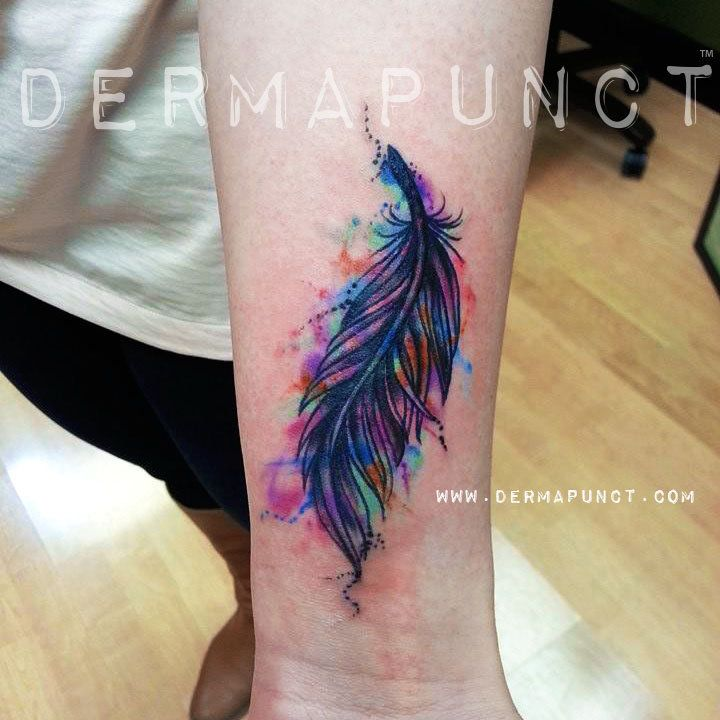 colorful watercolor feather tattoos   dermapunct-watercolor tattoo-feather