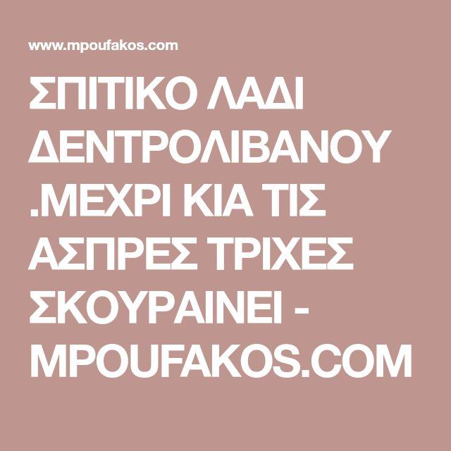 ΣΠΙΤΙΚΟ ΛΑΔΙ ΔΕΝΤΡΟΛΙΒΑΝΟΥ .ΜΕΧΡΙ ΚΙΑ ΤΙΣ ΑΣΠΡΕΣ ΤΡΙΧΕΣ ΣΚΟΥΡΑΙΝΕΙ - MPOUFAKOS.COM