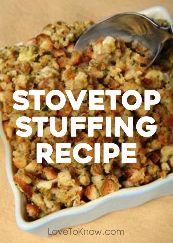 One less thing taking up space in your oven on Thanksgiving Day. Check out this easy stuffing recipe you can make on the stove! |  Stovetop Stuffing Recipe from #LoveToKnow