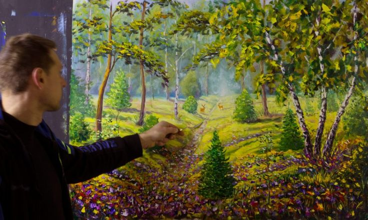Цветочная дорога в белорусском лесу — большая картина маслом на холсте. Купить картину. Рыбаков.