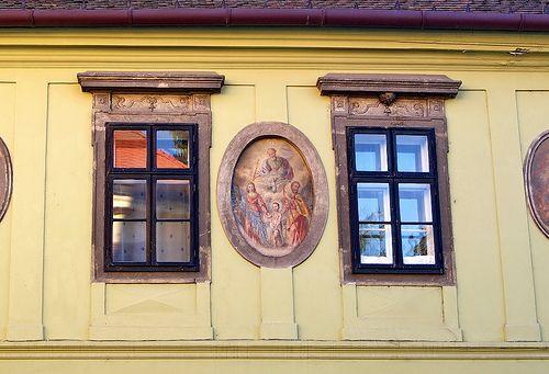 Sopron, medieval origin baroque house, fresco on the facade, around 1750. - Hungary