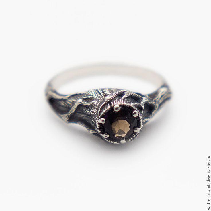 Купить Ведьмин Пень с раухтопазом из серебра, дымчатый кварц - дымчатый кварц, дымчатый кварц кольцо