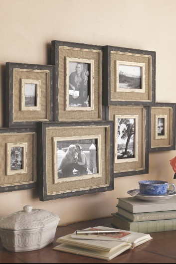 Collage frames--all in one piece unit, made of 7 distressed black frames, ready to pop in pictures and hang on a wall. Great idea.