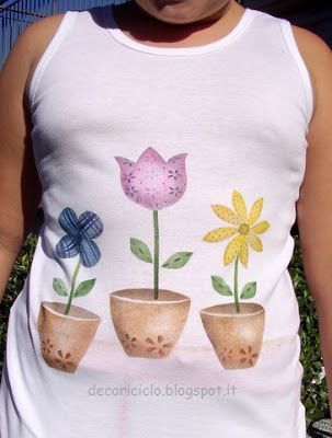 T-shirt vasi di fiori country painting