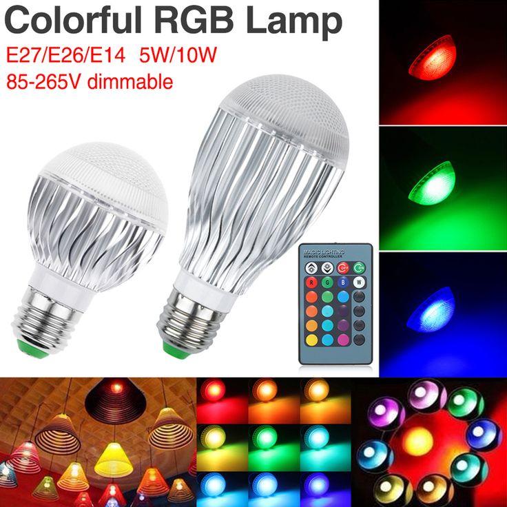$8.07 (Buy here: https://alitems.com/g/1e8d114494ebda23ff8b16525dc3e8/?i=5&ulp=https%3A%2F%2Fwww.aliexpress.com%2Fitem%2FE27-RGB-LED-Lamp-5W-10W-AC-85-265V-Bombillas-Led-E26-E14-RGB-LED-Bulb%2F32796031005.html ) E27 RGB LED Lamp 5W 10W AC 85~265V Bombillas Led E26 E14 RGB LED Bulb Light Remote Control 16 Color Changing Lampada LED Luz for just $8.07