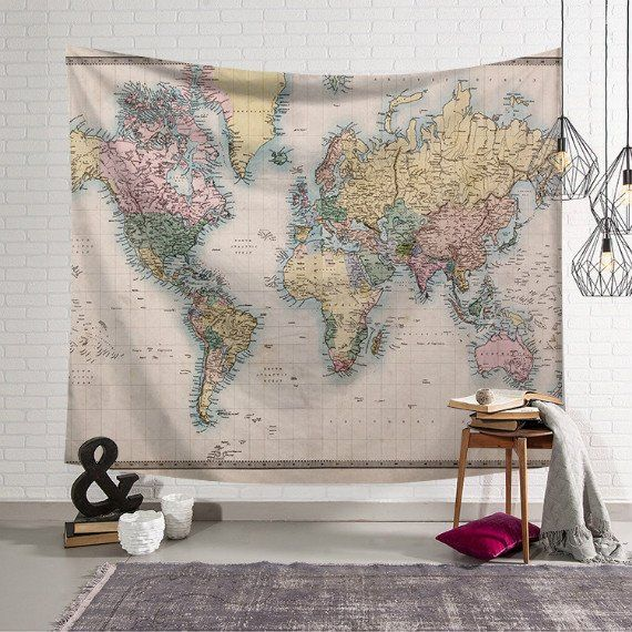 Floral carte du monde Tapisserie Décoratif Wall Hanging Tapestry Art Home Wall Decor