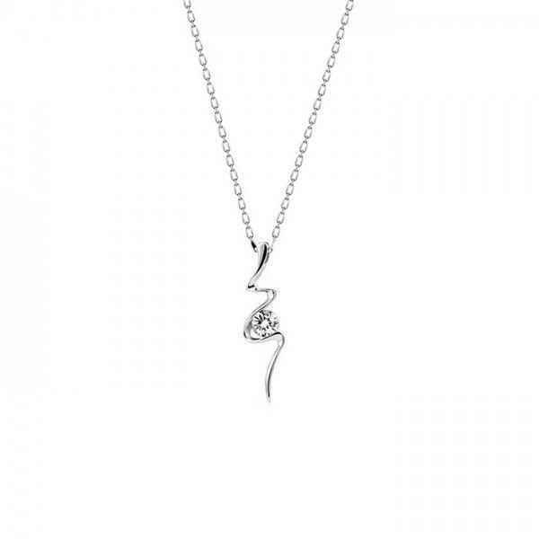 Su modelli, zirkon taşlı gümüş bayan kolye | bk029