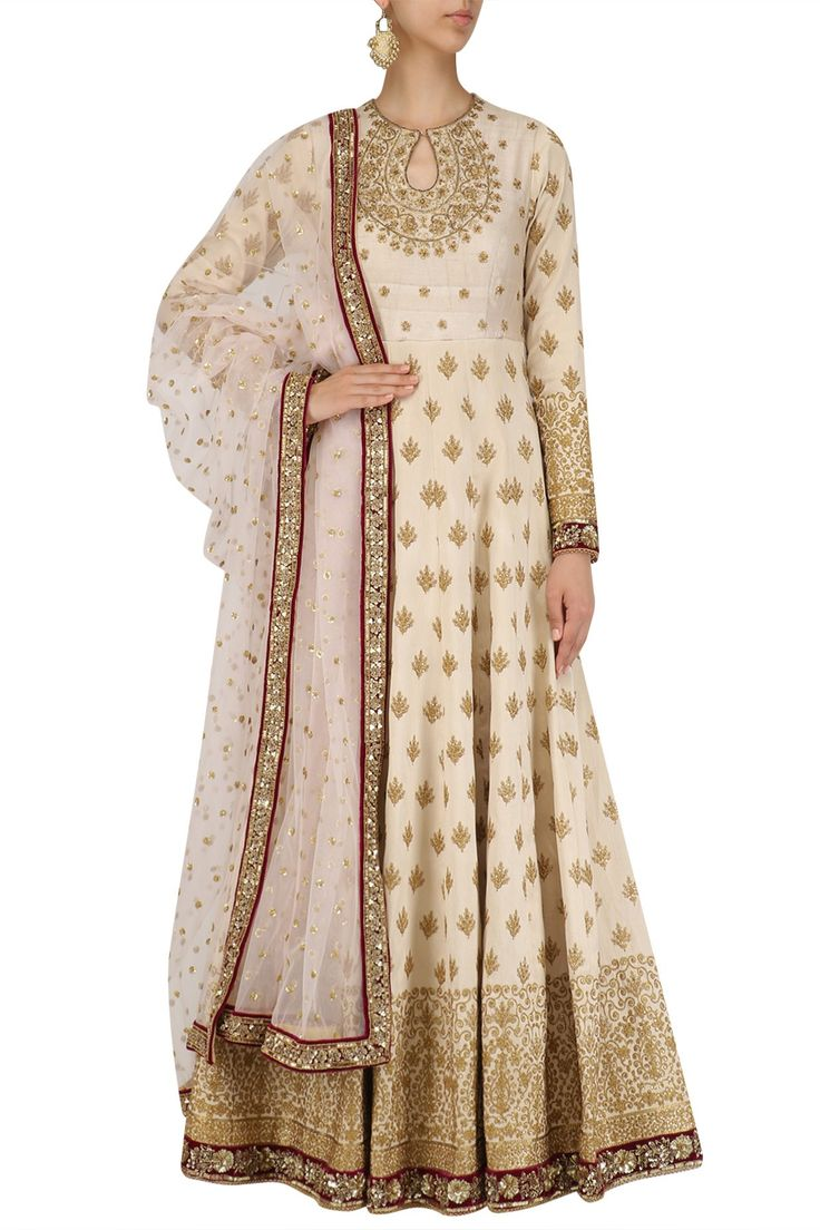 Off White Embroidered Anarkali With Rose pink Dupatta available only at Pernia's Pop Up Shop.