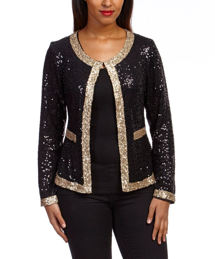 This Black & Gold Sequin Blazer by Dolce Cabo is perfect! #zulilyfinds