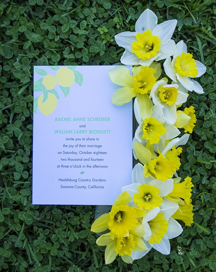 Spring Garden Wedding Invitations For A Rustic Farm Or Barn With Our Lemon Tree