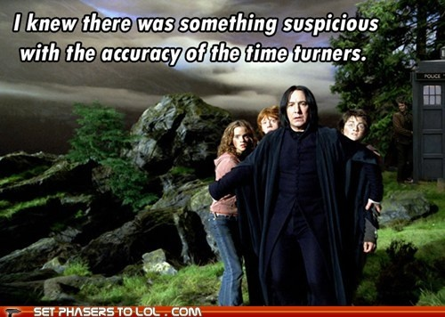 Something suspicious with the accuracy of time turners...  Well, yes, it's hard to understand, but time isn't a strict progression of cause to effect. From a non-linear, non-subjective viewpoint, it's more like a big ball of wibbly-wobbly...timey-wimey...stuff.: Severus Snape, True Colors, Alan Rickman, Emma Watson, Doctors Who, Prison Of Azkaban, Harry Potter, So Funny, David Tennant