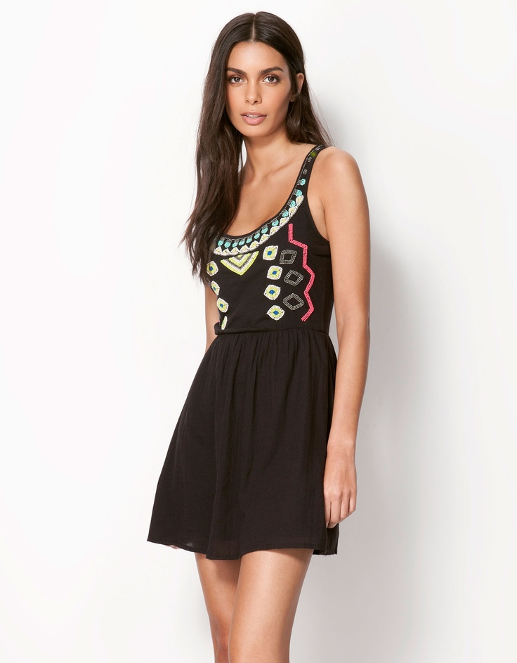 Bershka Egypt - Bershka ethnic embroidered dress