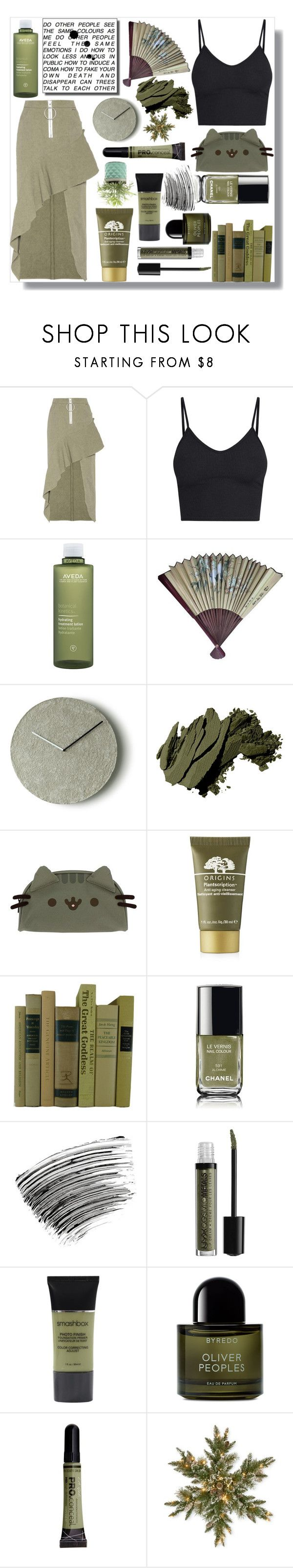 """""""Brown/Skirt - Skirt"""" by rose-chan-needs-a-life ❤ liked on Polyvore featuring Off-White, Aveda, AME, Bobbi Brown Cosmetics, Pusheen, Origins, Chanel, NYX, Smashbox and Byredo"""