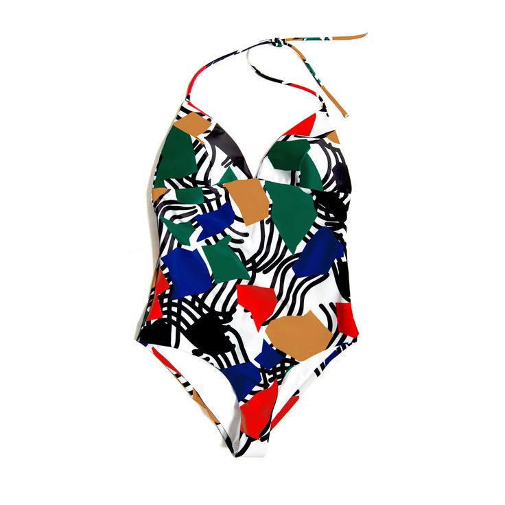 Stevie One-Piece in Noon Print. Shop at www.bodymaps.pl #swimwear #beachwear #swimsuit #bathing #suit #bright #yellow #green #blue #red #unique #black #white #contrast #onepiece #vivid #big #print #youngdesigner #newbrand #bodymaps