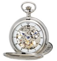 """Avalon Imperiale Series 17 Jewel Hand Wind Silver-Tone Skeleton Pocket Watch with Display Stand and 15"""" Chain # 8800SX"""