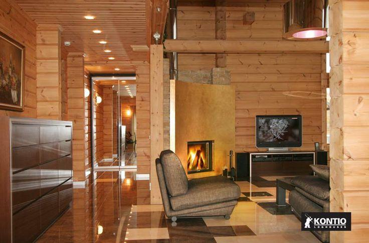 Intérieur tout bois naturel dans un chalet en bois KONTIO.  http://www.kontio.fr/