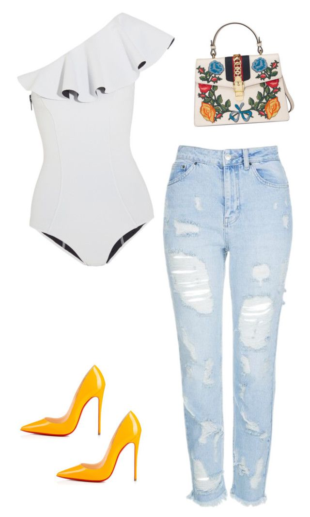 """Outfit of the day"" by shinella-blair-harris on Polyvore featuring Lisa Marie Fernandez, Topshop, Christian Louboutin, Gucci and shinellasfashion"
