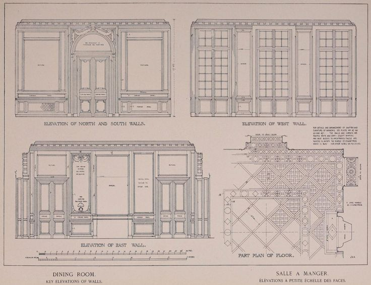 Elevations and partial plan of the Dining Room inside the Petit Trianon, Versailles