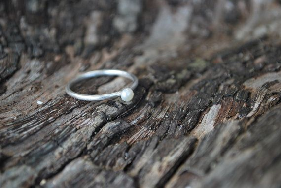 Small Cream Pearl  Silver Ring by MakeryNZ on Etsy