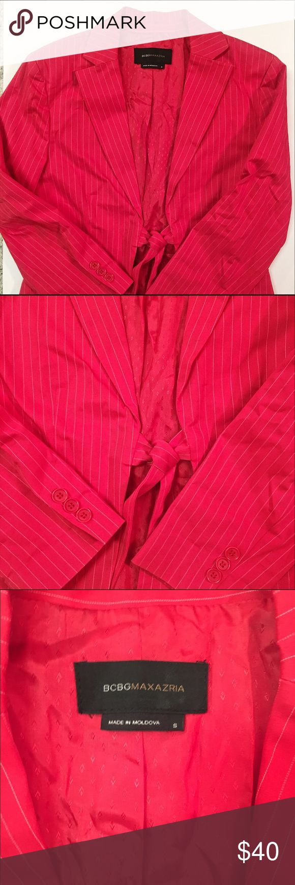 Bcbg red pin striped blazer Cute cropped blazer, tie front, pin stripes, bright red! Size small/ fits 2-6 well BCBGMaxAzria Jackets & Coats Blazers